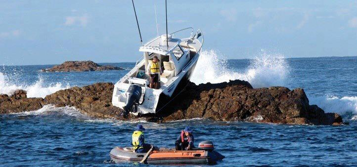 boat stuck on rocks, fail
