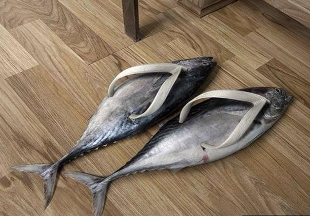 when you want to blame your smelly feet on something else, fish flip flops