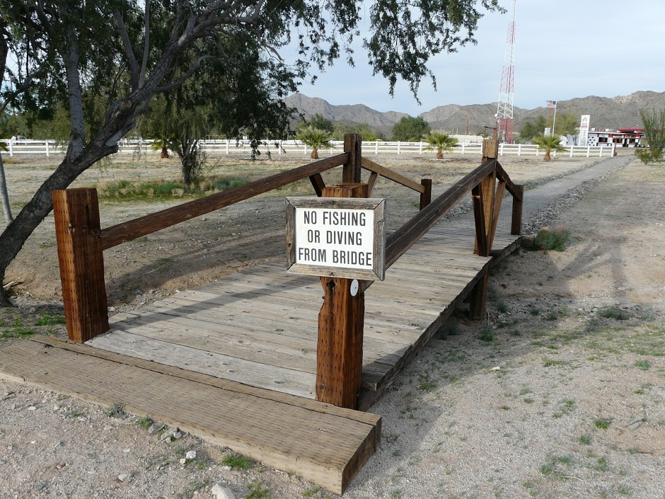 no dining or fishing from bridge, no water