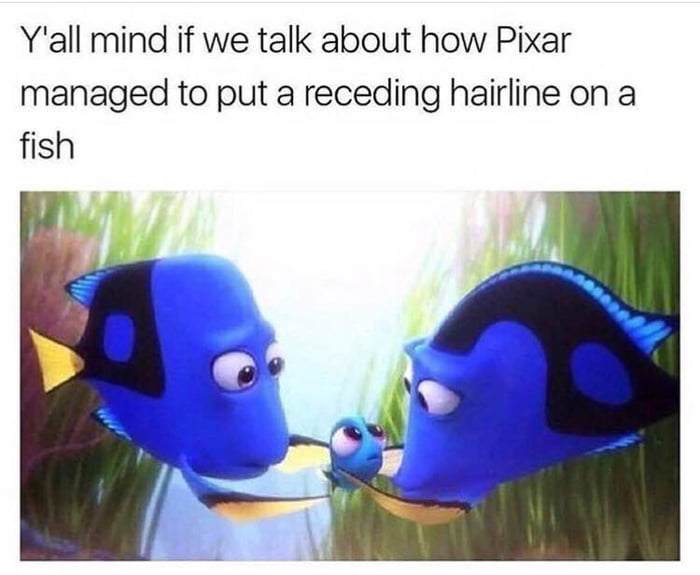 y; all mind if we talk about how pixar managed to put a receding hairline on a fish