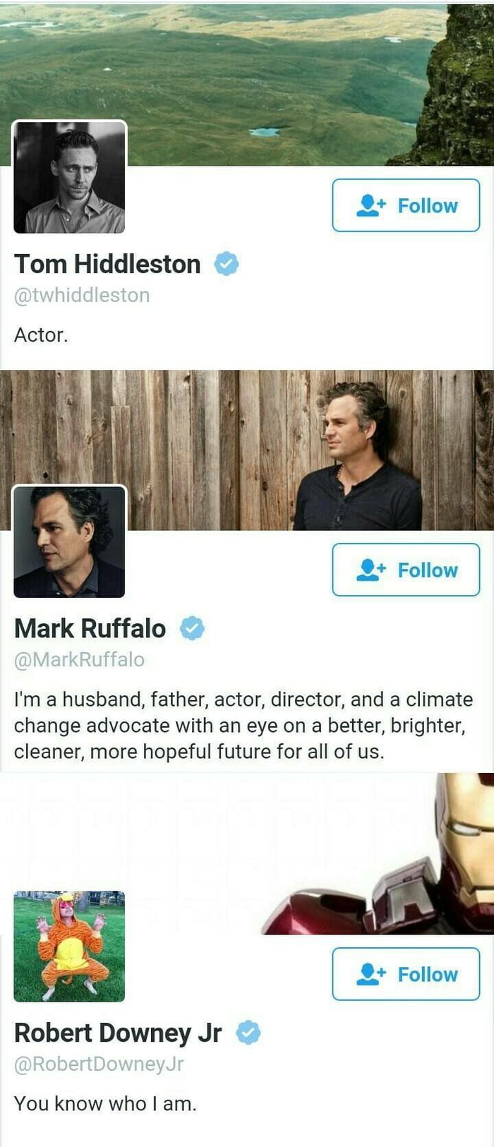 tom hiddleston, actor, mark ruffalo, i'm a husband, father, actor, director, and a climate change advocated with an eye on a better brighter cleaner more hopeful future for all, robert downey jr, you know who i am