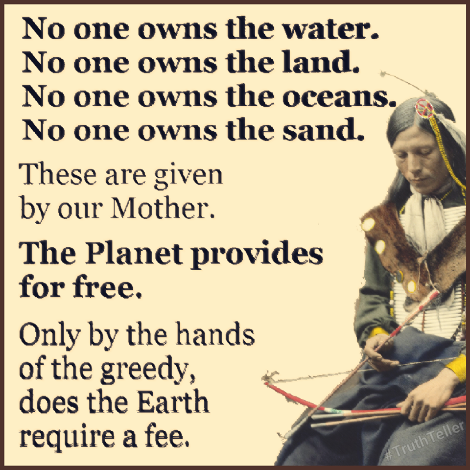 no one owns the water, no one owns the land, no one owns the oceans, no one owns the sand, these are given by our mother, the planet provides for free, only by the hands of the greedy does the earth require a fee