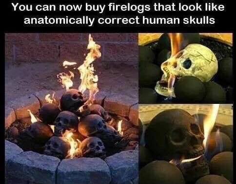 you can now buy firedogs that look like anatomically correct human skulls
