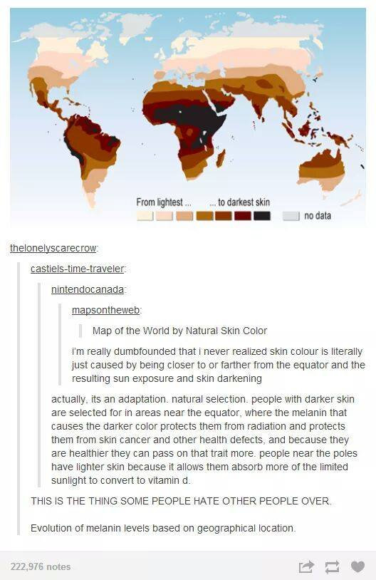 world map from lightest to darkest skin