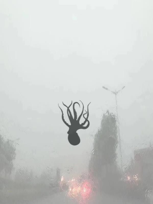 it's been raining like crazy in japan and sea creatures are pummelling the city, this was on my bus