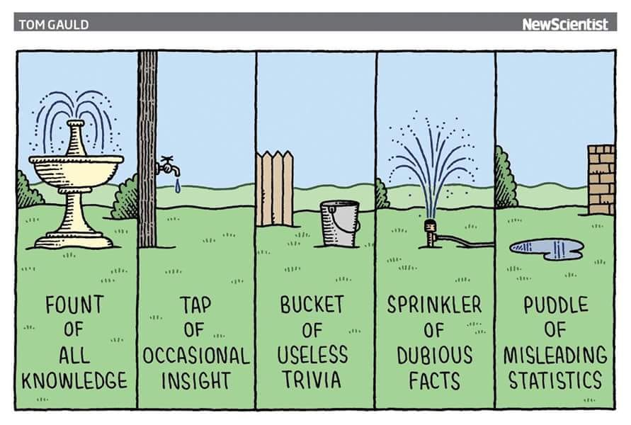 wonders of the scientific world, fount of all knowledge, tap of occasional insight, bucket of useless trivia, sprinkler of dubious facts, puddle of misleading statistics