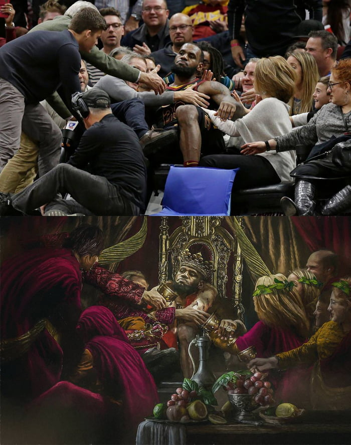 lebron falling into the seats looks like a medieval painting