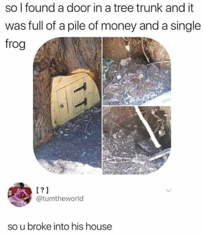 so i found a door in a tree trunk and it was full of a pile of money and single frog, so you broke into his house
