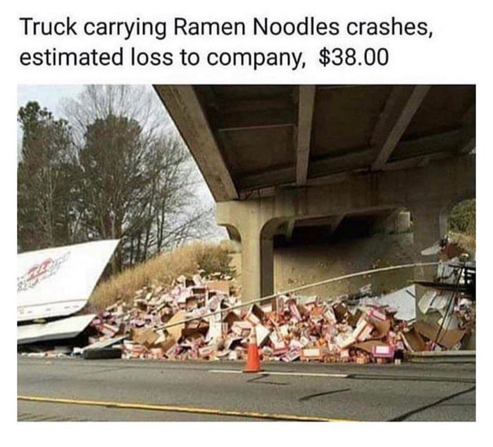 truck carrying ramen noodles crashes estimated loss to company, 38$