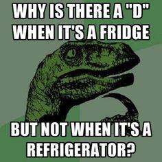 why is there a d when its a fridge but not when its a refrigerator, philosoraptor, meme