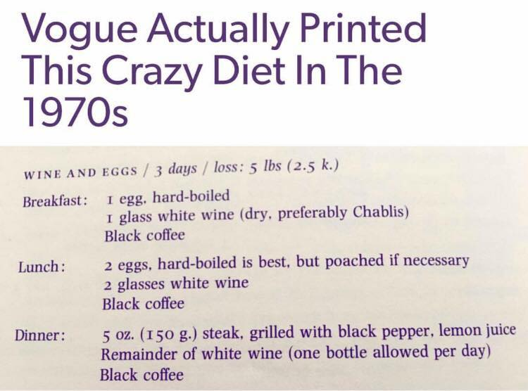 vogue actually printed this crazy diet in the 1970s