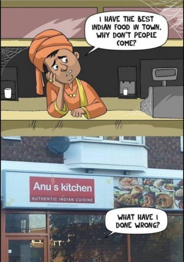 i have the best indian food in town, why don't people come?, anu's kitchen, what have I done wrong?