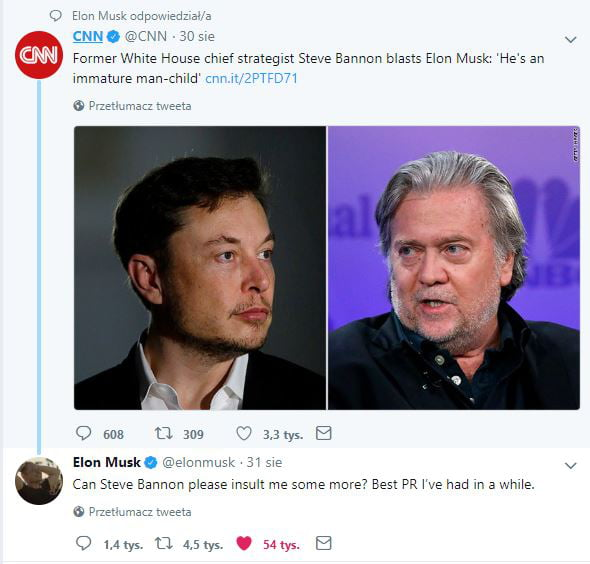 former white house chief strategist steve bannon blasts elon  musk, he's an immature man child, can steve bannon please insult me some more, best pr i've had in a while