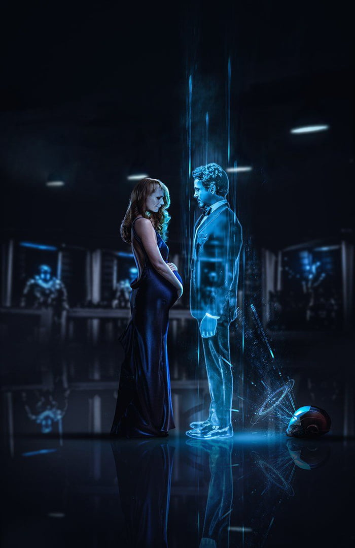 could it be?, hologram stark and pregnant pepper potts