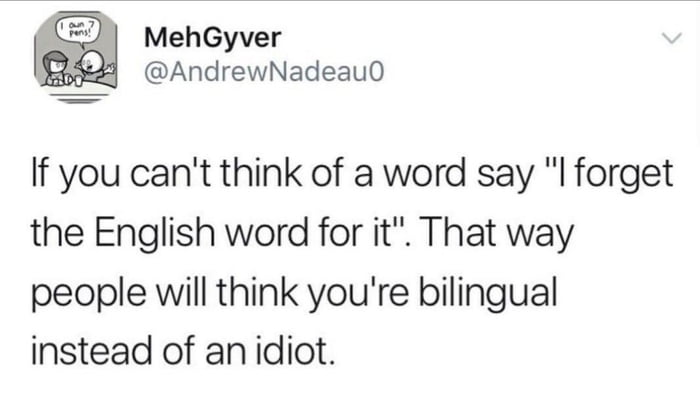 if you can't think of a word say, i forget the english word for it, that way people will think you're bilingual instead of an idiot