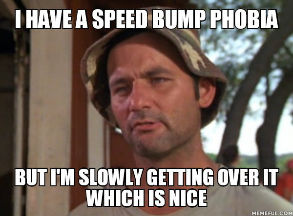 i have a speed bump phobia, but i'm slowly getting over it, meme