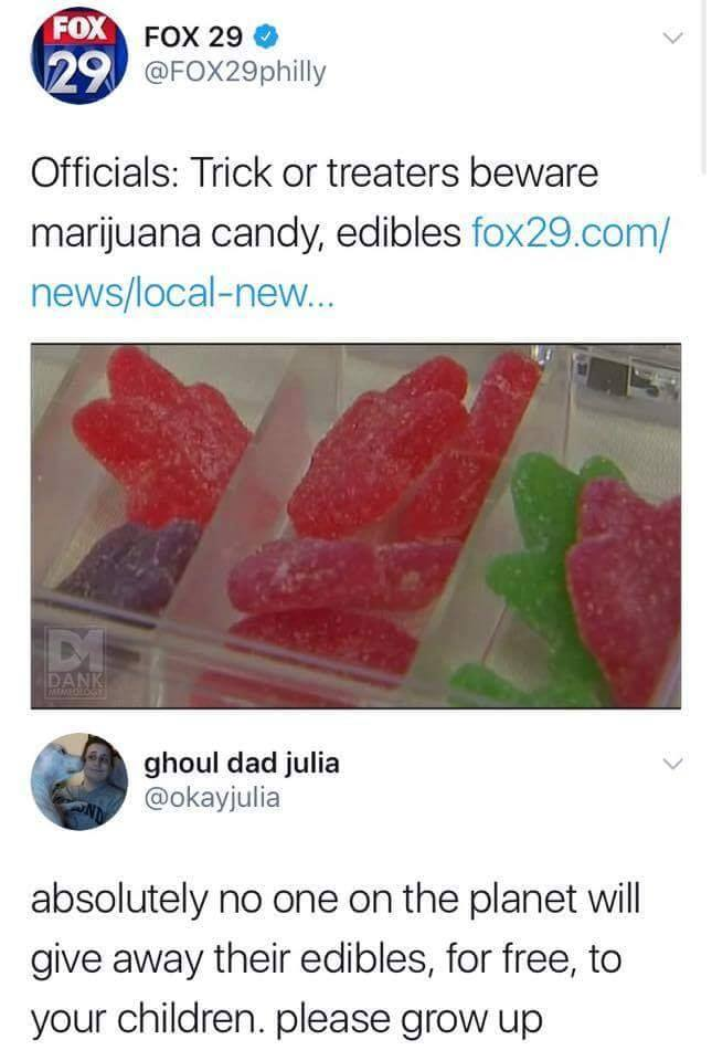 absolutely no one on the planet will give away their edibles, for free, to your children, please grow up