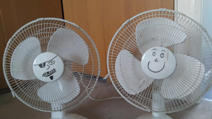 met a girl who also drew a face on her fan, we're together now