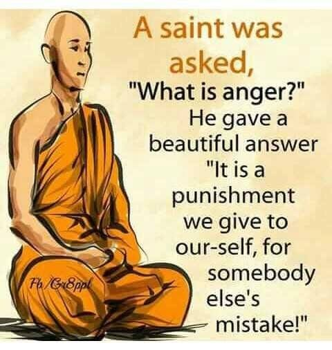 a saint was asked, what is anger?, he gave a beautiful answer, it is a punishment we give to ourself for someone else's mistake