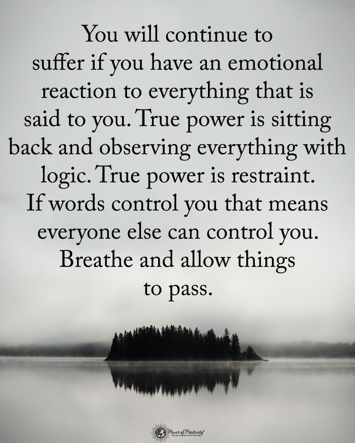you will continue to suffer if you have an emotional reaction to everything that is said to you, true power is sitting back and observing everything with logic, true power is restraint, breathe and allow things to pass
