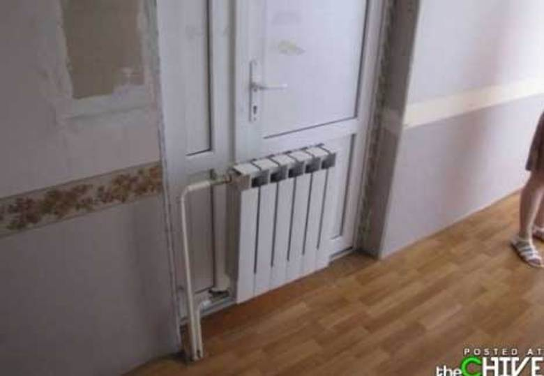 radiator installed in front of door, renovation fail