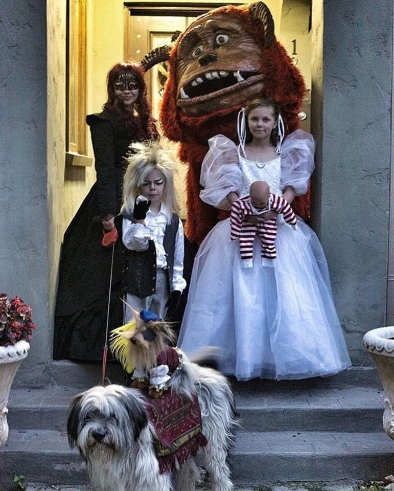 family gets their labyrinth costumes on, halloween
