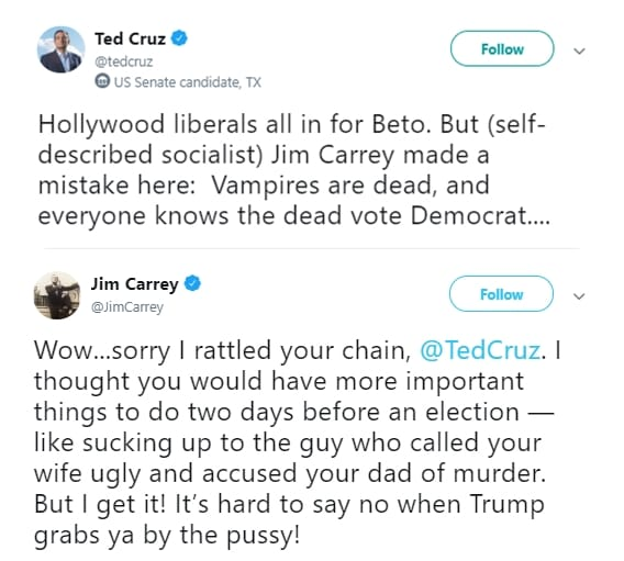 ted cruz versus jim carrey on twitter