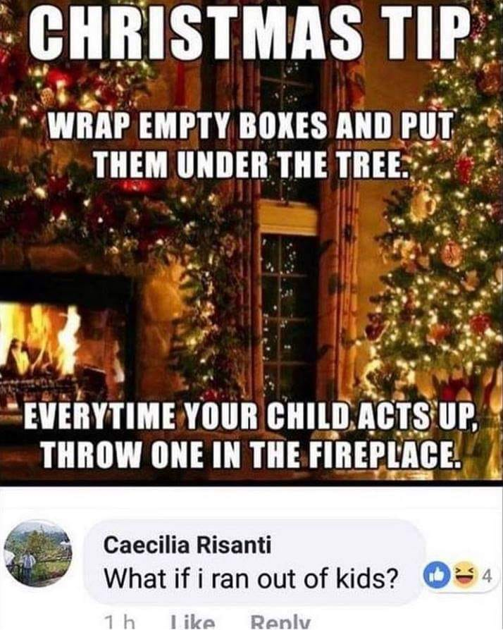 christmas tip, wrap empty boxes and put them under the tree, every time your child acts up, throw one in the fireplace, what if i ran out of kids