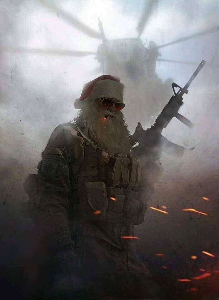 bad ass santa claus with riffle, helicopter