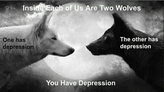 inside each of us are two wolves, one has depression, the other has depression, you have depression