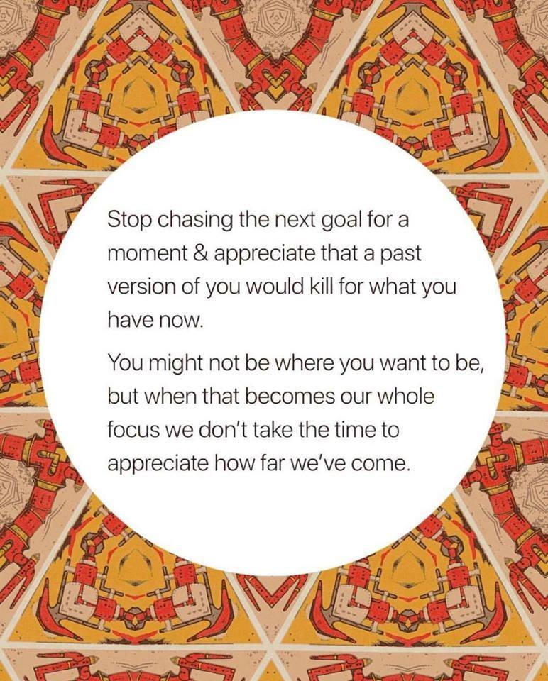 stop chasing the next goal for a moment, a past version of you would kill for what you have now, you might not be where you want to be, when that becomes our whole focus we don't take the time to appreciate how far we've come
