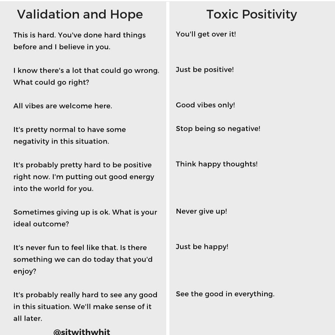 validation and hope versus toxic positivity