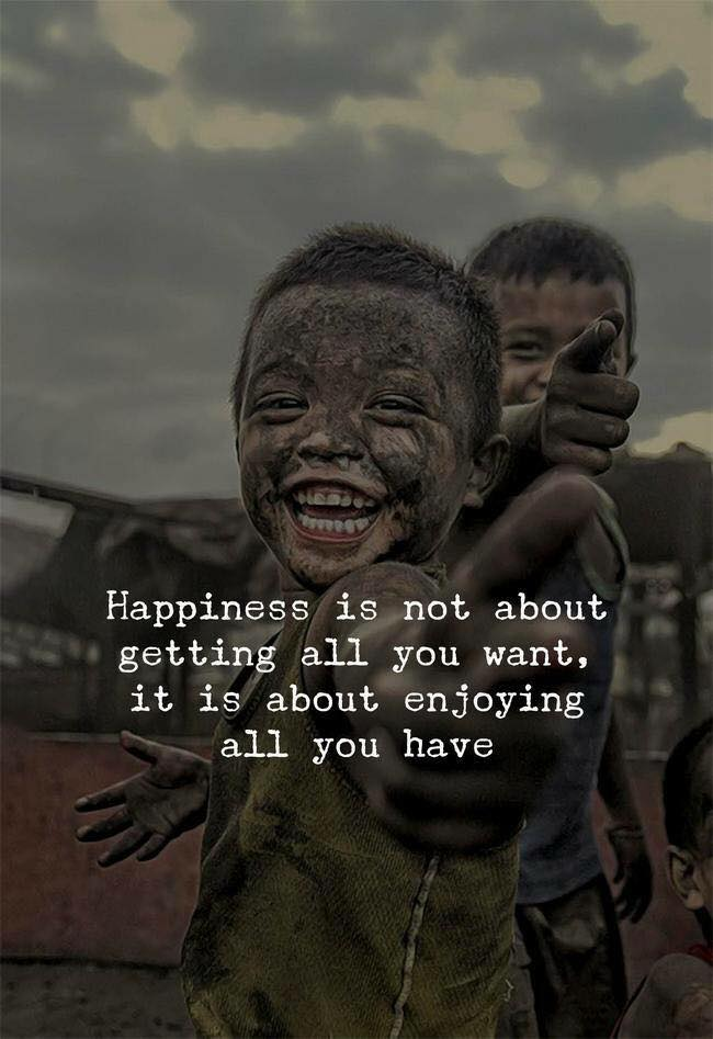 happiness is not about getting all you want, it is about enjoying all you have