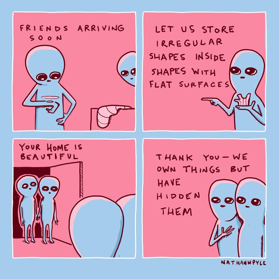 friend arriving soon, let us store irregular shapes inside shapes with flat surfaces, your home is beautiful, thank you, we own things but have hidden them, nathan pyle, comic