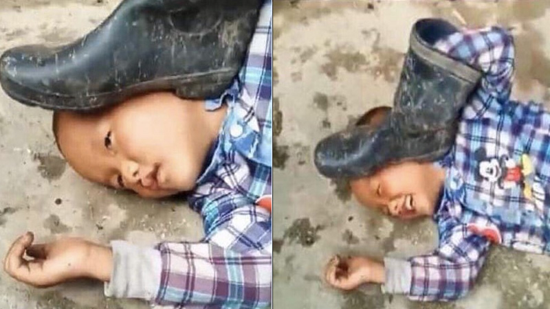 pressing a boot on your own kid, kid demonstrates the power of perspective