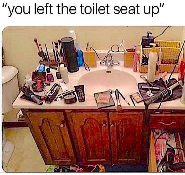 you left the toilet seat up, women bathroom gear