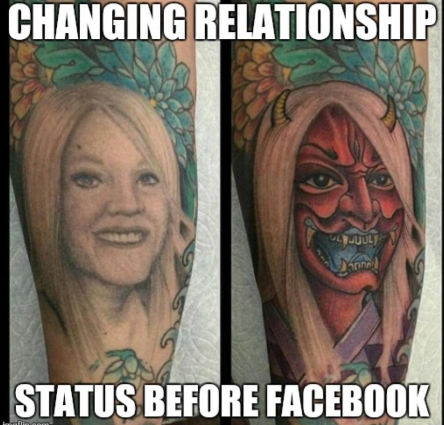 changing relationship status before facebook, girlfriend tattoo changed into demon tattoo