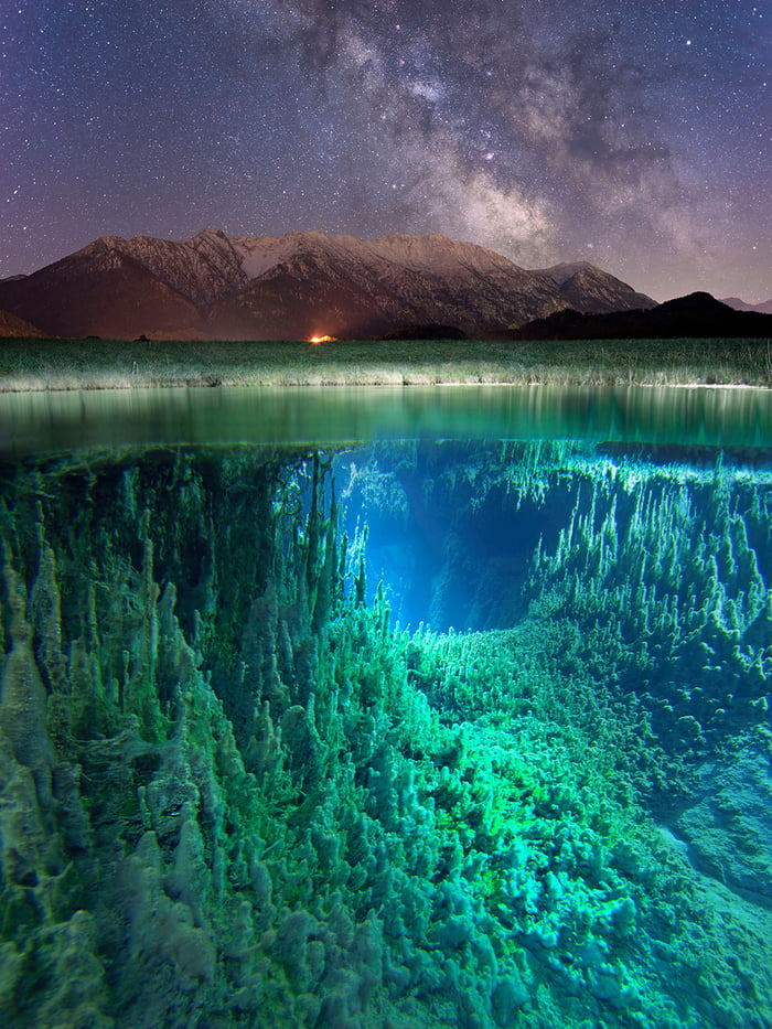 under water, mountains and the milky way in one photo