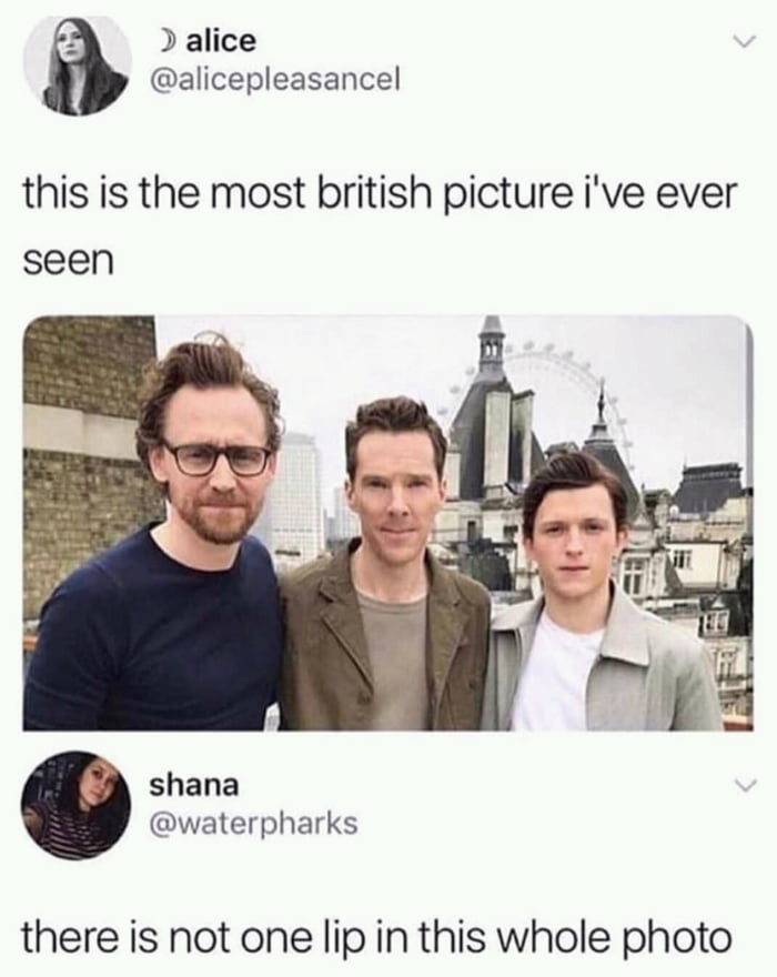 this is the most british picture i've ever seen, there is not one lip in this whole photo