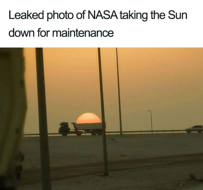 leaked photo of nasa taking the sun down for maintenance