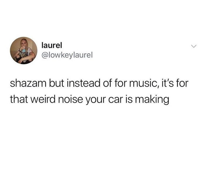 shazam but instead of for music, it's for that weird noise your car is making, million dollar app idea