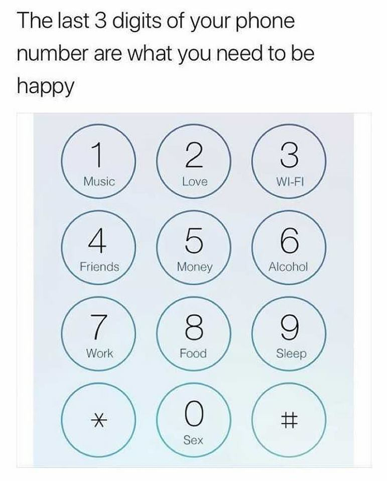 the last three digits of your phone number are what you need to be happy
