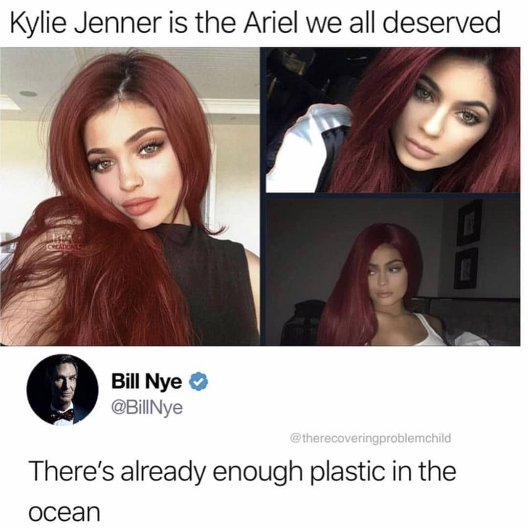 kylie jenner is the ariel we all deserve, there's already enough plastic in the ocean, bill nye is savage