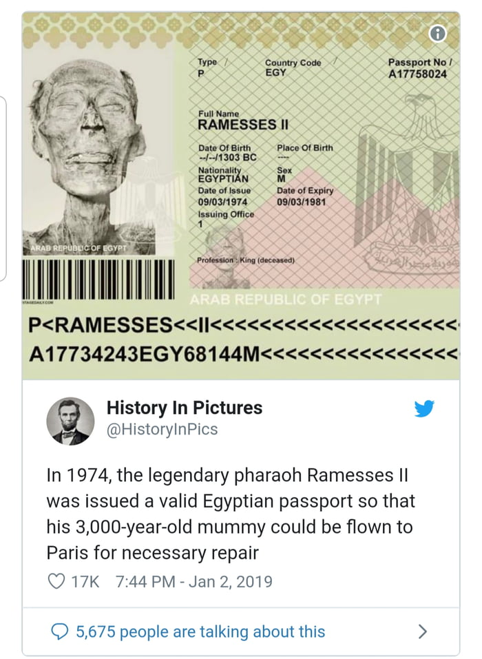 in 1974 the legendary pharaoh ramesses ii was issued a valid egyptian passport so that his 3000 year old mummy could be flown to paris for necessary repair