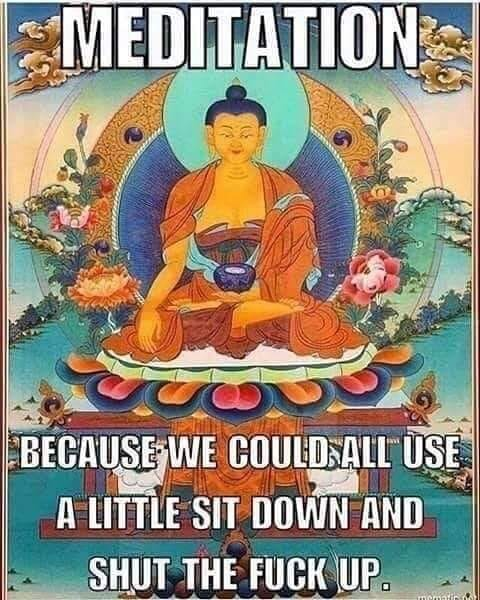 meditation, because we could all use a little site down and shut the fuck up, meme