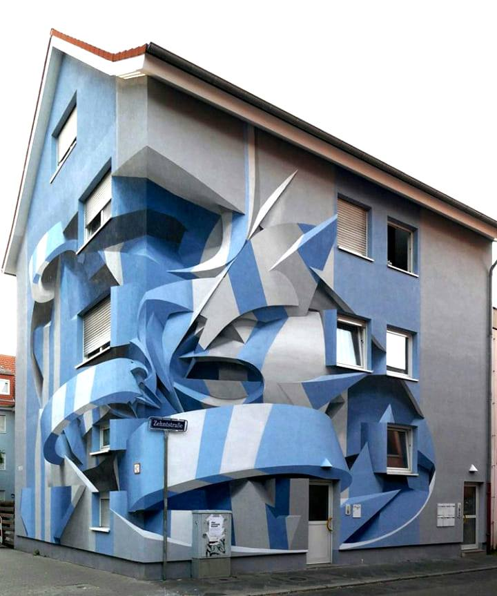 abstract geometry street art, twisted 3d building optical illusion