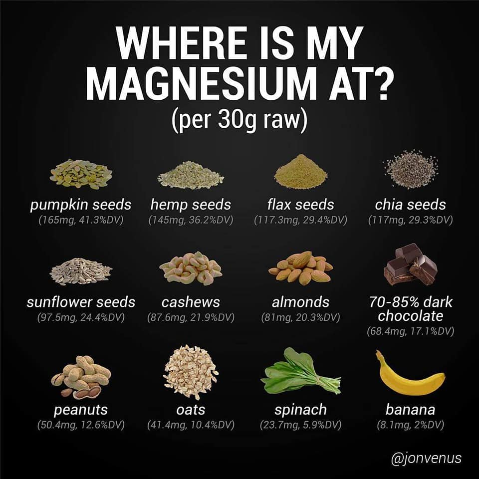 where is my magnesium at, pumpkin seeds, hemp seeds, flax seeds, chia seeds, sunflower seed, cashews, almonds, dark chocolate, peanuts, oats, spinach, banana, magnesium content, nutrition, food