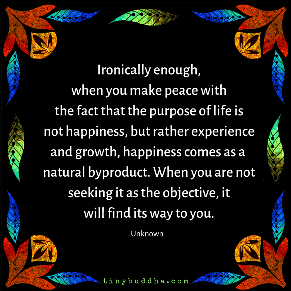 when you make peace with the fact that the purpose of life is not happiness, but rather experience and growth, happiness comes as a natural byproduct, when you are not seeking it as the objective, it will find its way to you