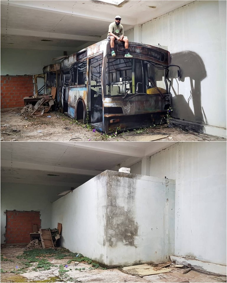 burnt out city bus wall art, amazing talent, optical illusion