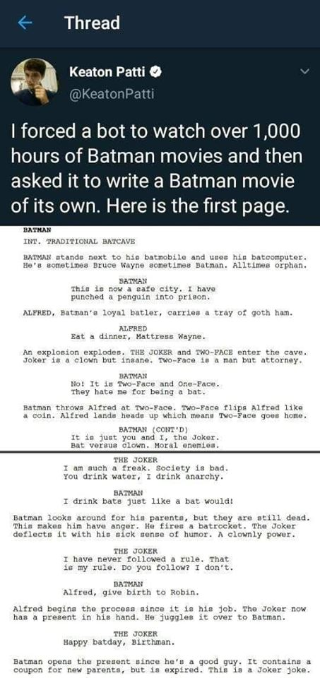 i forced a bot to watch over 1000 hours of batman movies and then asked it to write a batman movie of its own, here is the first page